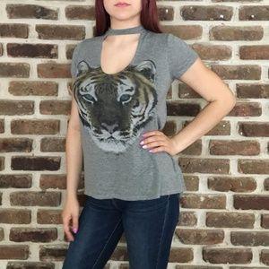 Dirtee Laundry Grey T-shirt Tiger Print Sz M - USA